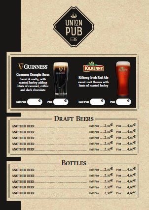Menu: Union Pub