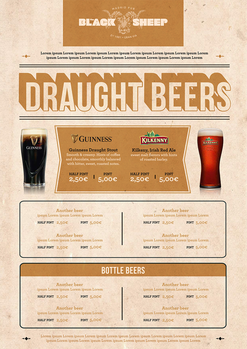 Menu: Black Sheep Draught Beers