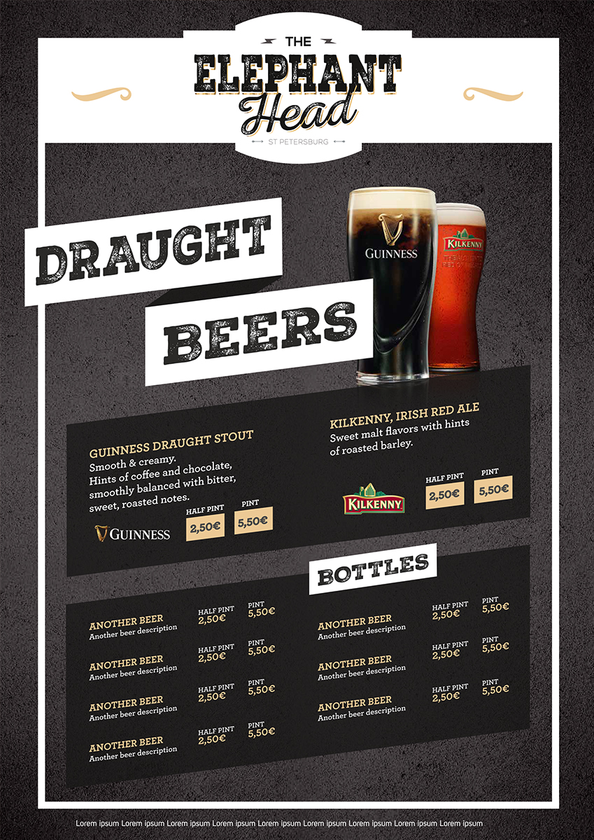 Menu: The Epephant Head Draught Beers